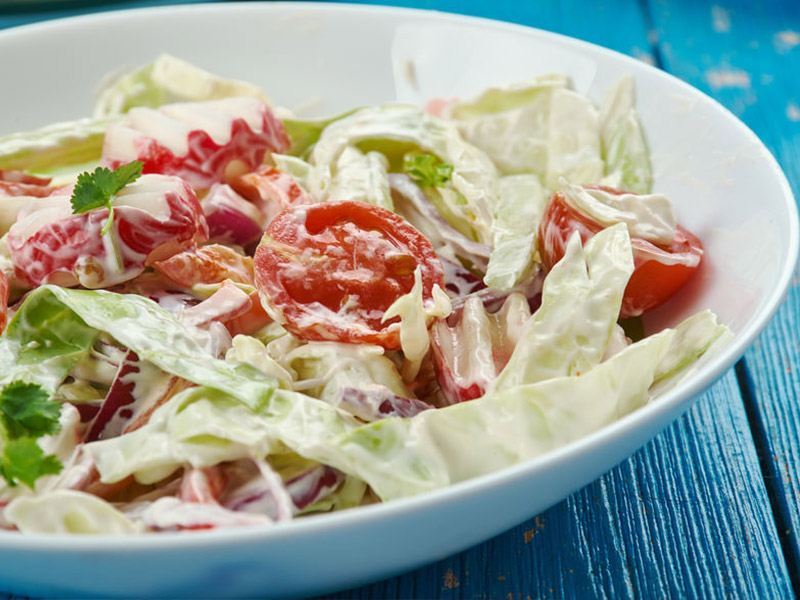Red, White and Blue Creamy Slaw
