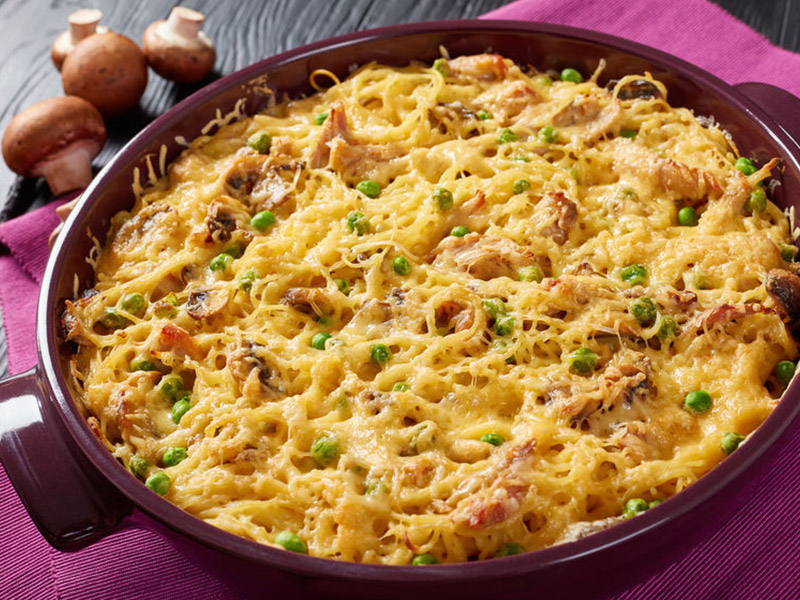 Three Cheese Chicken & Bacon Alfredo Casserole
